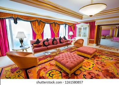 Dubai, UAE - FEBRUARY 18, 2018: Burj Al Arab royal suite. Interior of Burj Al Arab famous Dubai hotel. 7 star luxury hotel. Dubai symbol. Iconic the most luxurious hotel in the world. Lounge area.