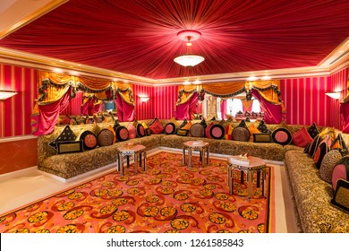 Dubai, UAE - FEBRUARY 18, 2018: Burj Al Arab royal suite. Interior of Burj Al Arab famous Dubai hotel. 7 star luxury hotel. Dubai symbol. Iconic the most luxurious hotel in the world. Lounge area.