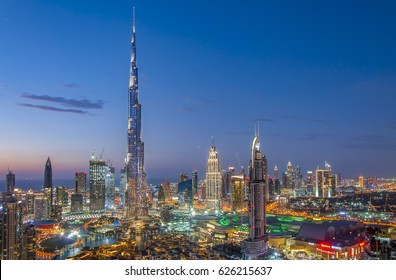 DUBAI, UAE - February 18: Burj Khalifa the tallest building in the world. Dubai Downtown cityscape. Dubai evening skyline, busy roads, sunset on February 18, 2017 in Dubai.