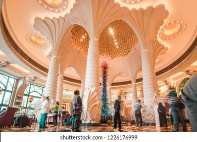 DUBAI, UAE - FEBRUARY 2, 2017: Atlantis, The Palm Hotel - Beautiful glass sculpture in the lobby of the Atlantis the Palm 5 star hotel.