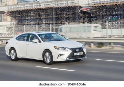Dubai, UAE February 20, 2018: white Lexus rides on the road