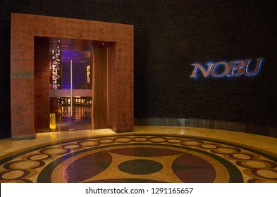 DUBAI, UAE - FEBRUARY 2014: The famous Nobu restaurant in Atlantis, The Palm, Dubai. Nobu is globally known for its fusion cuisine blending traditional Japanese dishes with Peruvian ingredients.