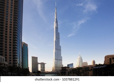 DUBAI, UAE - FEBRUARY 2018: Burj Khalifa, world's tallest tower, Downtown Burj Dubai.