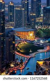 DUBAI, UAE - FEBRUARY, 2018: Dubai opera theatre light up at night. Downtown area.
