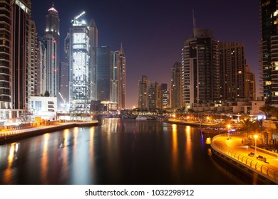 DUBAI, UAE - FEBRUARY 2018: View of modern skyscrapers at night  in Dubai Marina in Dubai, UAE.
