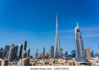 Dubai / UAE - February 2019:Dubai cityscape. Dubai is the largest and most populous city in the United Arab Emirates.