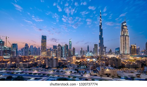 Dubai / UAE - February 2019:Dubai cityscape at Magic Hour. Dubai is the largest and most populous city in the United Arab Emirates.