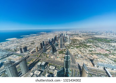 Dubai / UAE - February 2019:Dubai cityscape at daytime. Dubai is the largest and most populous city in the United Arab Emirates.