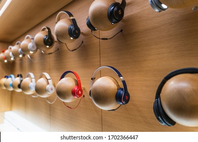 Dubai, UAE - February 2020: Beats by Dr. Dre headphones on display in Apple Store.