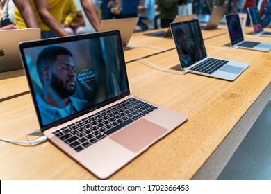 Dubai, UAE - February 2020: Sale of Apple Macbook Air in official Apple Store.
