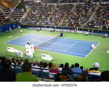 DUBAI, UAE - FEBRUARY 22: Centre court  men's singles event during Dubai Tennis Championships 2010 on February 22, 2010 in Dubai, United Arab Emirates