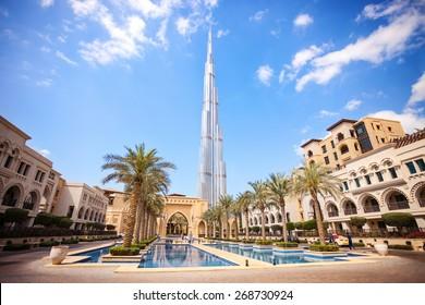 DUBAI, UAE - FEBRUARY 24 - Burj Khalifa, the highest building in the world, 829.8 m tall. Picture taken on February 24, 2015.