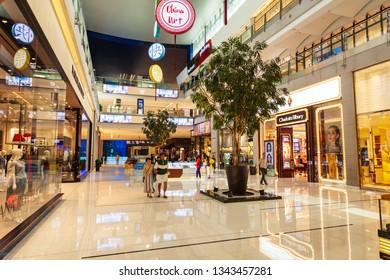 DUBAI, UAE - FEBRUARY 25, 2019: The Dubai Mall interior, the second largest shopping mall in the world located in Dubai in UAE