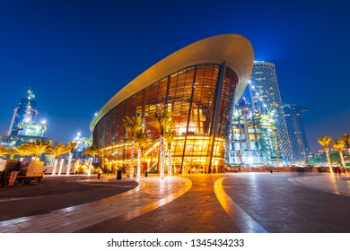 DUBAI, UAE - FEBRUARY 25, 2019: Dubai Opera is a performing arts centre located in Downtown Dubai in UAE