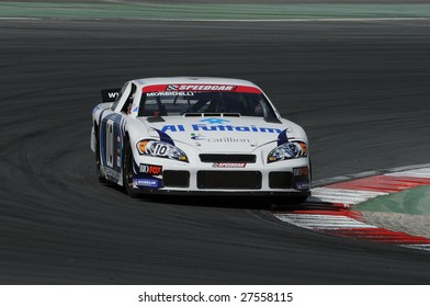 DUBAI, UAE - FEBRUARY 27: Speedcar Series driver Gianni Morbidelli in action at Dubai Autodrome. The Speedcar Series Championship is a stock car racing with several ex F1 drivers held in Dubai, UAE on Feb. 27, 2009.