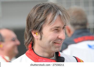 DUBAI, UAE - FEBRUARY 27: Speedcar Series driver Heinz H. Frentzen, ex-F1, at Dubai Autodrome. during round 4 of the Speedcar Series Championship held in Dubai, UAE on Feb. 27, 2009..