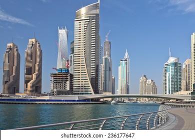 DUBAI, UAE - FEBRUARY 28: Skyscrapers in Dubai Marina, on February 28, 2013, Dubai, UAE.