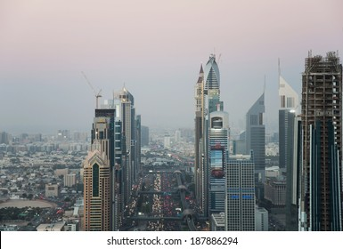 DUBAI, UAE - FEBRUARY 3 - Emirates Twin Towers, Dubai, designed by NORR Group Consultants International. One tower is 1165 feet high and the other is 1014 feet high. Picture taken on February 3, 2013.