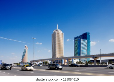 DUBAI, UAE - FEBRUARY 3 - The tall towers of Sheikh Zayed Road showcase much of Dubai's modern architectural developments 20 years ago it was only a desert here. Picture taken on February 3, 2009.