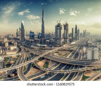 DUBAI, UAE - FEBRUARY 9, 2017: Elevated view of downtown Dubai architecture at daytime with Burj Khalifa and Sheikh Zayed road.