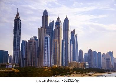 DUBAI, UAE - FEBRUARY 9, 2017: A view of Dubai Marina, the most luxury area with a lot of skyscrapers