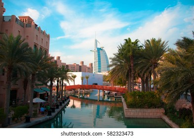 DUBAI, UAE - FEBRUARY 9, 2017: A view of 6 star luxury hotel Burj Al Arab from Madinat Jumeirah (the Arabian Resort)