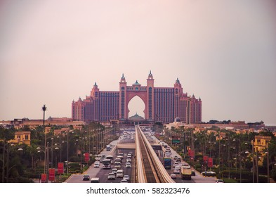DUBAI, UAE - FEBRUARY 9, 2017: A panoramic view to Atlatnis Hotel from the monorail, the Palm Jumeirah