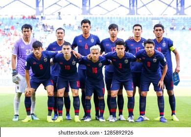 Dubai, UAE - Jan 10 2019: Thailand Team photo before AFC Asian Cup 2019 between Thailand and Bahrain at   Al-Maktoum Stadium in Dubai, UAE.