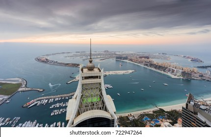 DUBAI, UAE - JAN 15, 2017: Palm Jumeirah Island, Elite Residence tower in World Tallest Tower Blocks in Dubai Marina area at evening