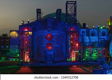 DUBAI, UAE - JAN 18, 2019: Stunt show with colorful industry decor at the Global Village in Dubai. Show is free a couple of times during the evening.