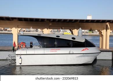 DUBAI, UAE - JAN 18: Modern Dubai Water Taxi. January 18, 2012 in Dubai, United Arab Emirates