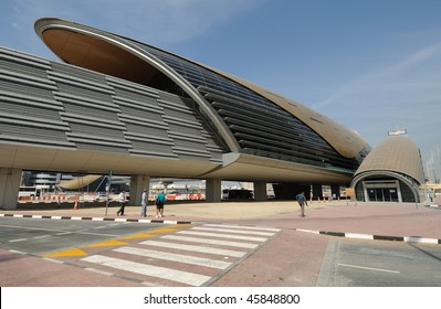 DUBAI, UAE - JAN 18: New Futuristic Metro Station in Sheikh Zayed Road January 18, 2010 in Dubai, United Arab Emirates