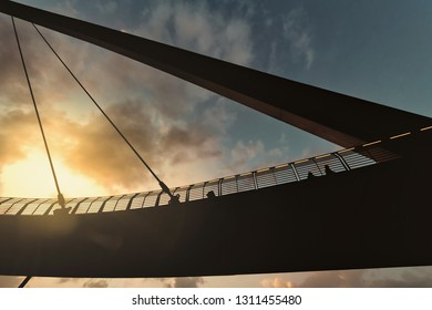 DUBAI, UAE - JAN 19, 2019: Tolerance bridge in detail with the structure in backlight.
