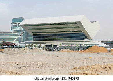 DUBAI, UAE - JAN 19, 2019: The construction of Mohammed Bin Rashid Library at Dubai Festival City. Opening late 2019