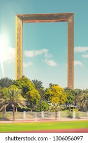 DUBAI /UAE, JAN 20, 2019: Dubai frame with its golden color rises in between the old and new Dubai. Attraction ready for the public in 2017