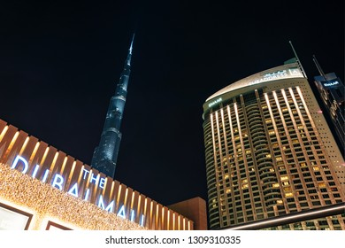DUBAI, UAE - JAN 20, 2019: Entrance to Dubai Mall with Burj Khalifa in center and the Address hotel to the right.