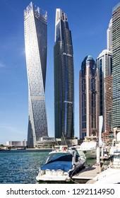 Dubai, UAE - Jan 22, 2019:  Cayan Tower (Infinity Tower) in Dubai Marina.