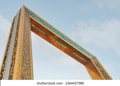 DUBAI, UAE - JAN 23, 2019: The Dubai Frame from below with clear light blue sky. Abstract view.