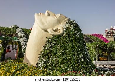 Dubai, UAE - Jan 24, 2019: The Miracle garden in Dubai.