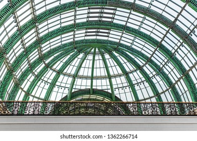 DUBAI, UAE - JAN 24, 2019: Green structure of the big classic atrium at the Mall of Emirates.
