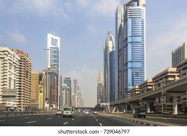 Dubai, UAE - January 02, 2017: Traffic at the Sheikh Zayed Road downtown in Dubai, United Arab Emirates
