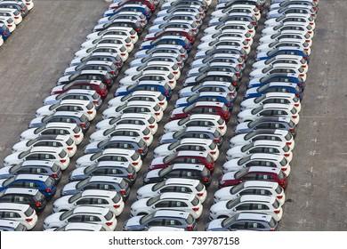 Dubai, UAE - January 03, 2017:  New cars ready to ship in the port Rashid in Dubai, UAE