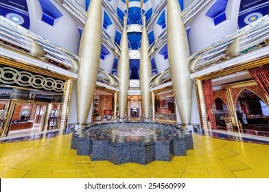 Dubai, UAE - January 08, 2012: View of Burj Al Arab lobby. Burji Al Arab is a luxury hotel located in Dubai, United Arab Emirates. At 321 m (1,053 ft), it is the fourth tallest hotel in the world.