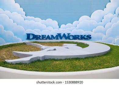 DUBAI, UAE, JANUARY 09, 2019: Dreamworks logo at the entrance to the entertainment pavilion at the Motiongate theme park in Dubai