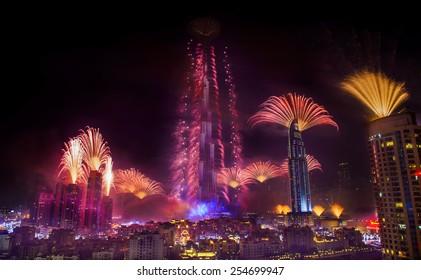 DUBAI, UAE - JANUARY 1: New year celebration with fireworks in Burj Khalifa on January 1,2015 in Dubai, UAE