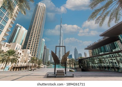 Dubai, UAE, January 10, 2021. Wings of Mexico, popular tourist attraction in Dubai downtown. Burj Khalifa on the background.