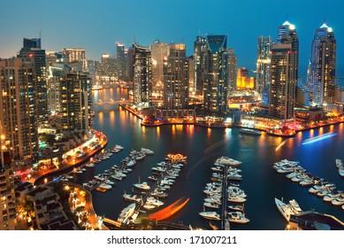 DUBAI, UAE - JANUARY 11: Beautiful aerial view of Dubai Marina just after the sunset in Dubai January 11, 2014