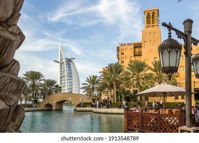 Dubai, UAE – January 13, 2015 –  Madinat Jumeirah district in Dubai, United Arab Emirates