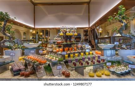 Dubai, UAE - January 15, 2018:  Varied buffet restaurant in the hotel Mina A Salam Madinat Jumeirah