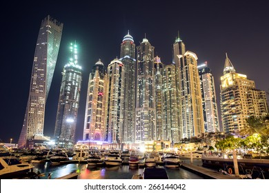 Dubai, UAE - January 15: View of Dubai Marina neighbourhood in Dubai, UAE on January 15, 2015. Dubai Marina is an artificial canal city, built along a two mile stretch of Persian Gulf shoreline.